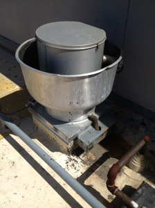 Example of a exhaust fan grease catcher that isn't maintained.